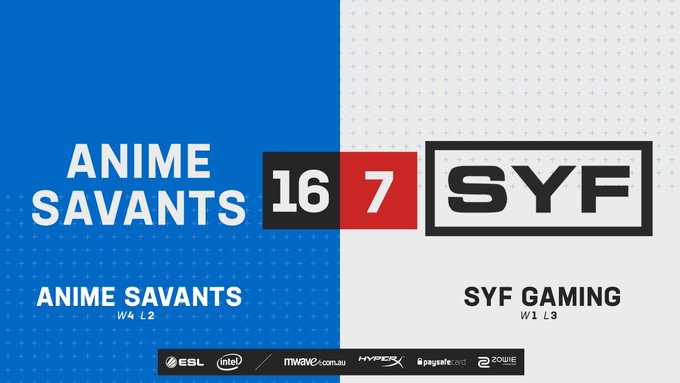 After a rather dominant performance we see #AnimeSavants take Overpass 16-7 against @SYFGAMING! ✊ #ESLAUNZ 📺 Photo