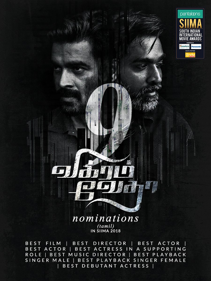 The crime-thriller, #VikramVedha receives 9 nominations in #SIIMA2018 @sash041075,@PushkarGayatri,#Vjsethupathi,@ActorMadhavan,@varusarath,@SamCSmusic ,@ShakthisreeG,@anirudhofficial&amp; @ShraddhaSrinath. Our voting polls are now live at  http:// bit.ly/SIIMAVOTING  &nbsp;   #PantaloonsSIIMA<br>http://pic.twitter.com/R64KvzrQlv