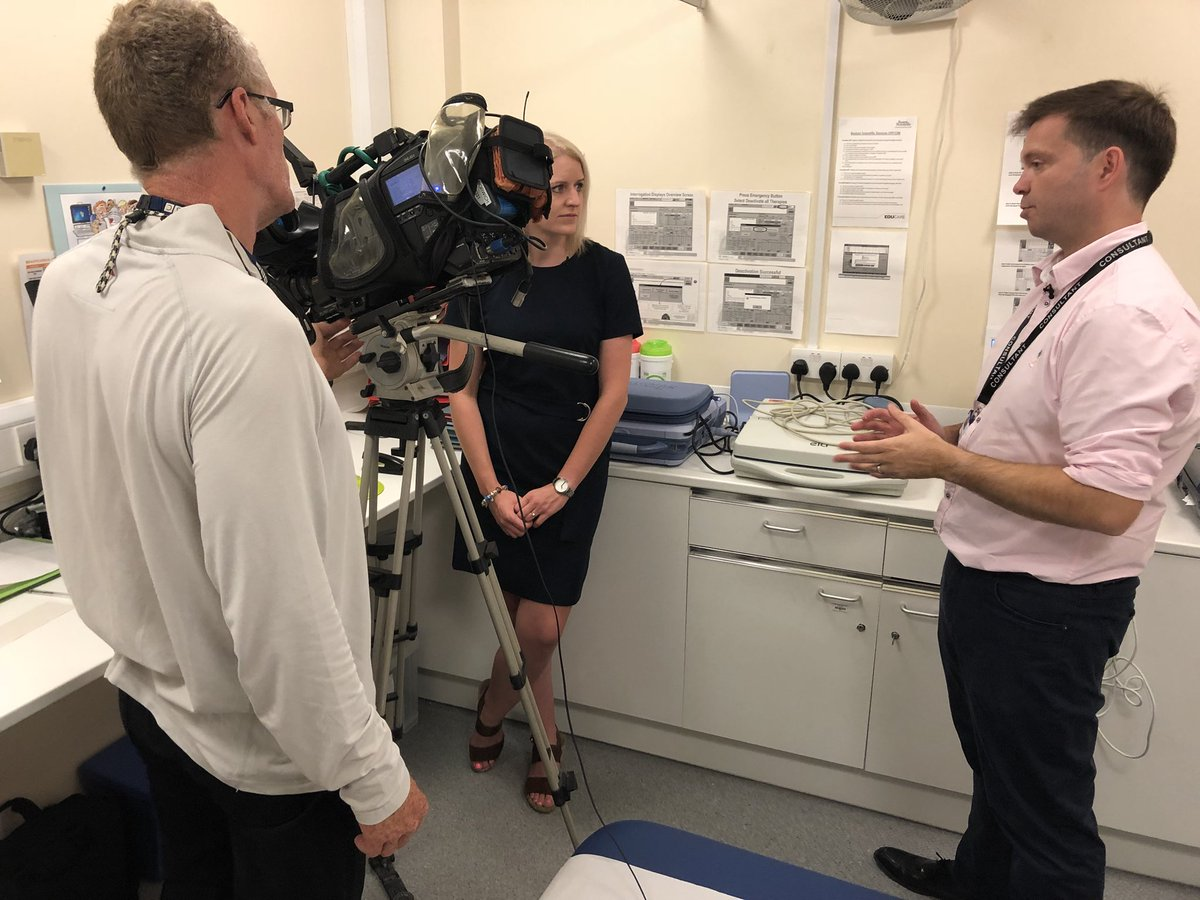 Consultant cardiologist Dr Duncan Field is currently filming with @BBCLookEast for tonight's 6.30pm programme, talking about the procedure to fit the first patient at #ColchesterHospital with a heart pacemaker that talks to their mobile phone via Bluetooth. #LoveYourNHS
