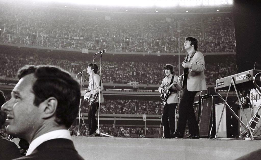Beatles live at Shea Stadium NYC, today 1965, helped open way to big stadium rock concerts: #Telegraph