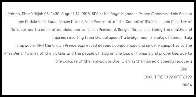 tragedia del #PonteMorandi :ci mancavano solo le condoglianze del principe dell\