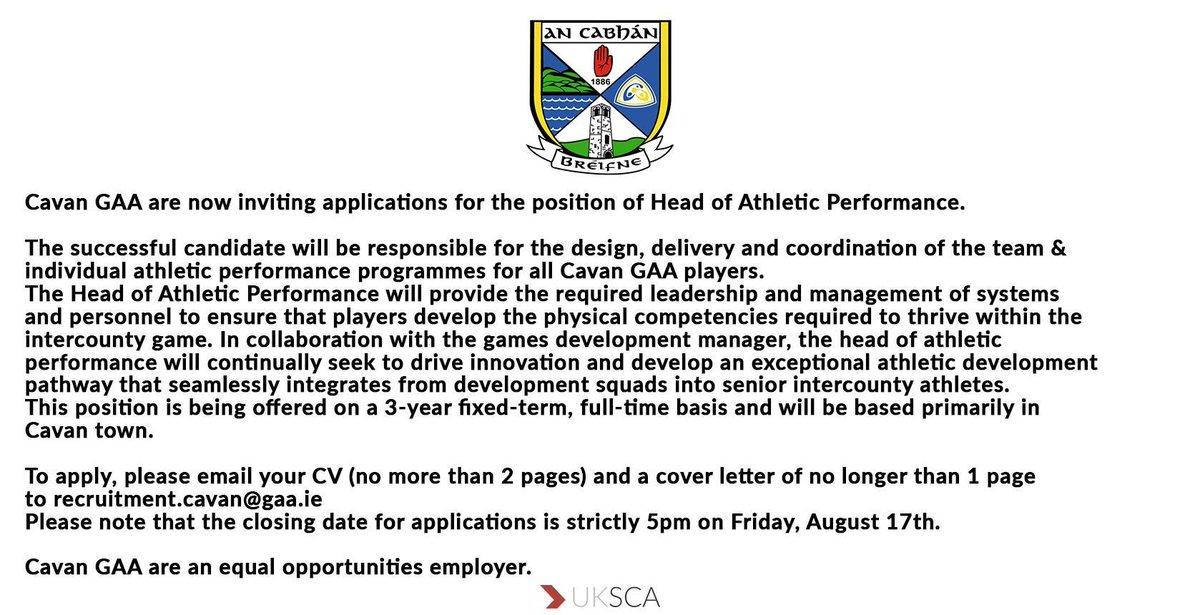 uksca on twitter job alert head of athletic performance