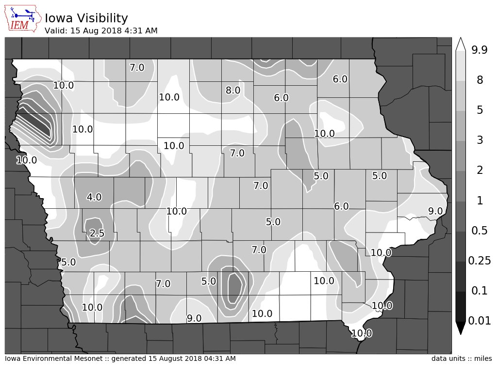 A soupy atmosphere this morning.  Some patchy fog has developed as a result. #iawx