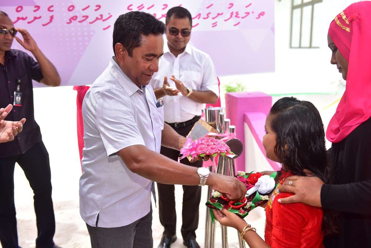 Th. Madifushi land reclamation, coastal protection and sewerage system completed and inaugurated today by President Yameen Abdul Gayoom. President Yameen delivering his pledges to people of Maldives. #YaameemShaheem2018<br>http://pic.twitter.com/0ymkpvTxGC