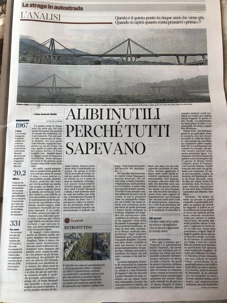 Tutto quello che c'è da capire su #ponteGenova #genova oggi sta a pagina 15 @Corriere tutto il resto è noia oltre che una vergognosa caccia al colpevole. Indecente scambio social su #Europa #autostrade vergogna! si chieda scusa almeno #sciacalli  - Ukustom