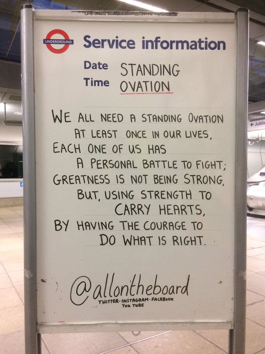 We all need a Standing Ovation at least once in our lives. You may not feel it sometimes, but, YOU are special indeed. @allontheboard #NationalRelaxationDay #WednesdayWisdom #LoveYourselfAnswer #LOVE_YOURSELF #ALevelResults #ExamResults #KindnessMatters #MentalHealthMatters<br>http://pic.twitter.com/rxUpORaF0b &ndash; à Canning Town Station