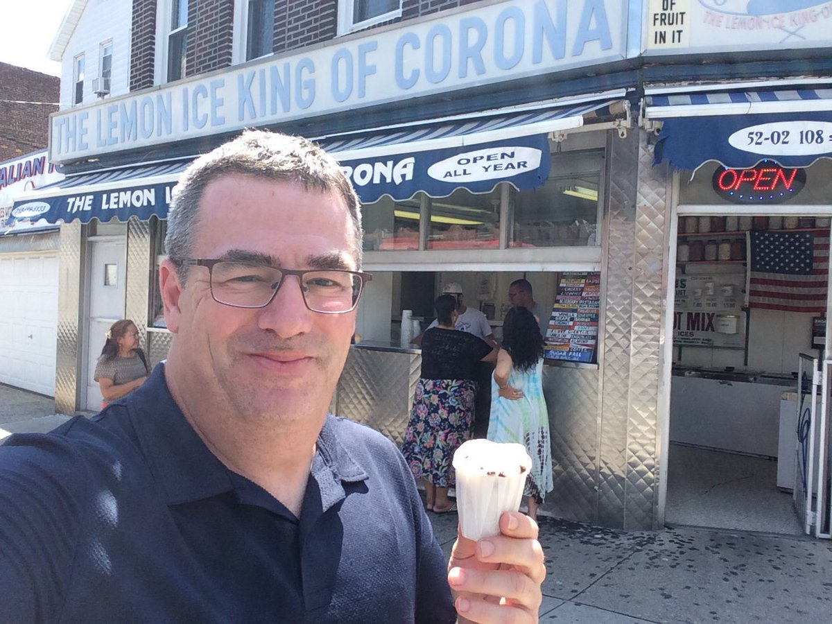 Stop 3 on the @NY1 5 Borough #IceCream Tour - it&#39;s the Lemon Ice King of Corona #Queens - serving Italian Ices since 1944!!!! #NYC #MorningsOn1 <br>http://pic.twitter.com/FS2wkIEUPp