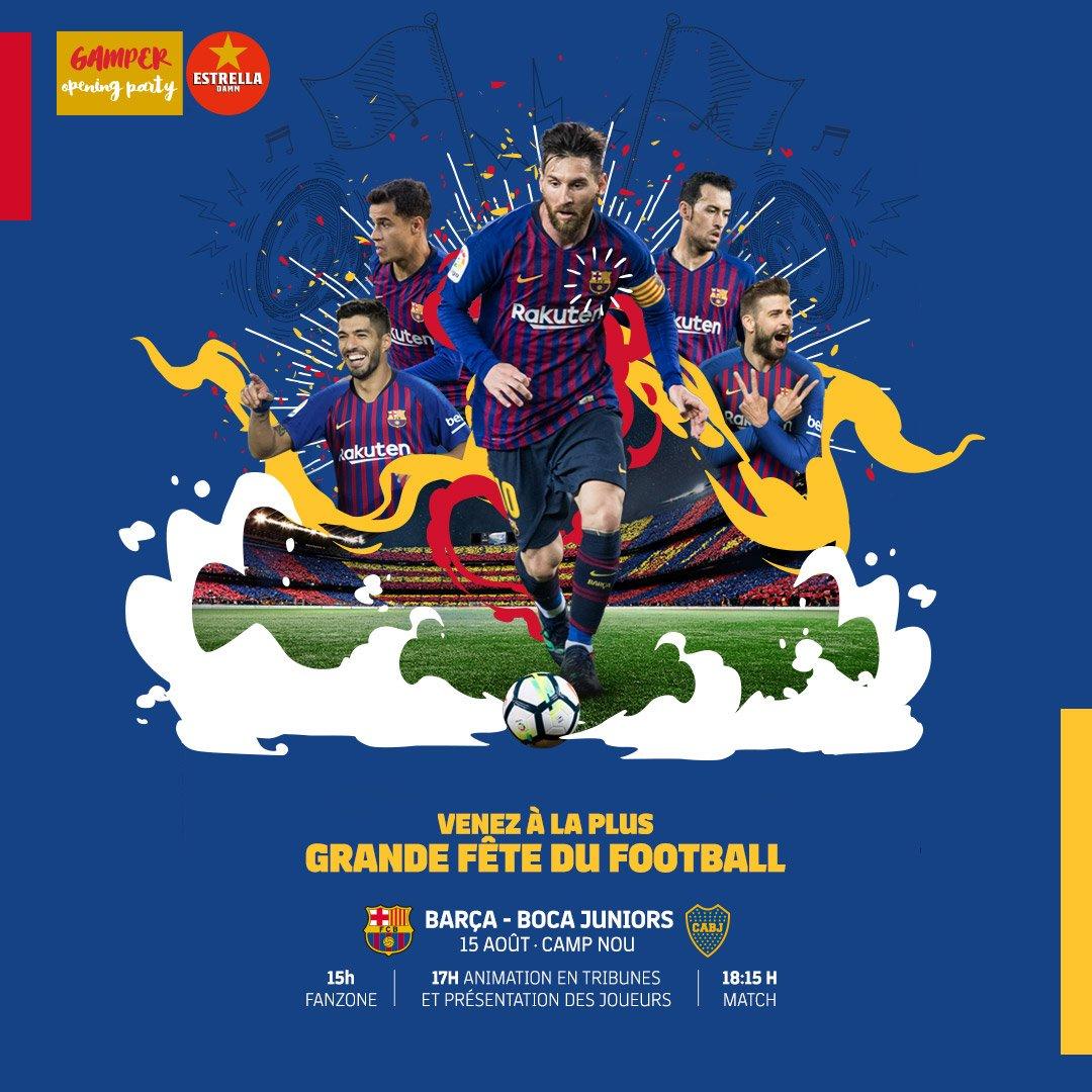 🏆 JOUR DE MATCH !  #GamperBarça ⚽ Barça 🆚 @BocaJrsOficial  ⏰ 18h15  📍 Camp Nou