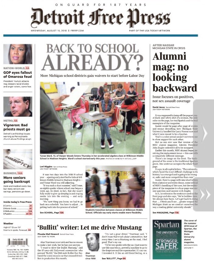 Excellent education reporting by Lori Higgins and David Jesse in @freep: more schools in Michigan starting classes before Labor Day; interim MSU president John Engler pushed for annual Spartan alumni magazine to downplay Larry Nassar aftermath.  http:// on.freep.com/2KUsO8D  &nbsp;  <br>http://pic.twitter.com/H7zBeGsOhp