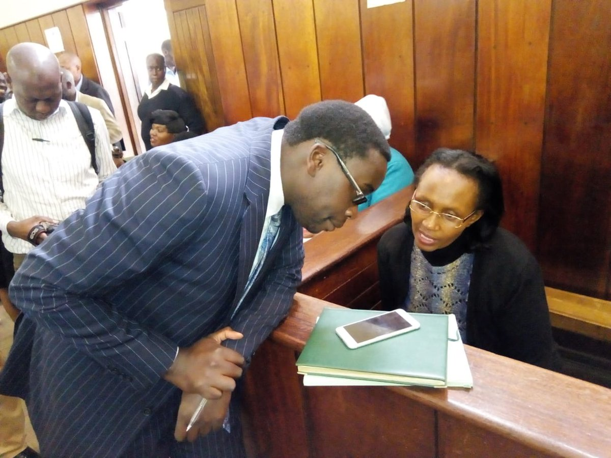 Susan Wangare, Kiambu County's First Lady in the dock at City court with her lawyer ready to take plea. Wangare was arrested by Nairobi City County officers for erecting a storey building without required approvals. <br>http://pic.twitter.com/4AdXWgaXJJ