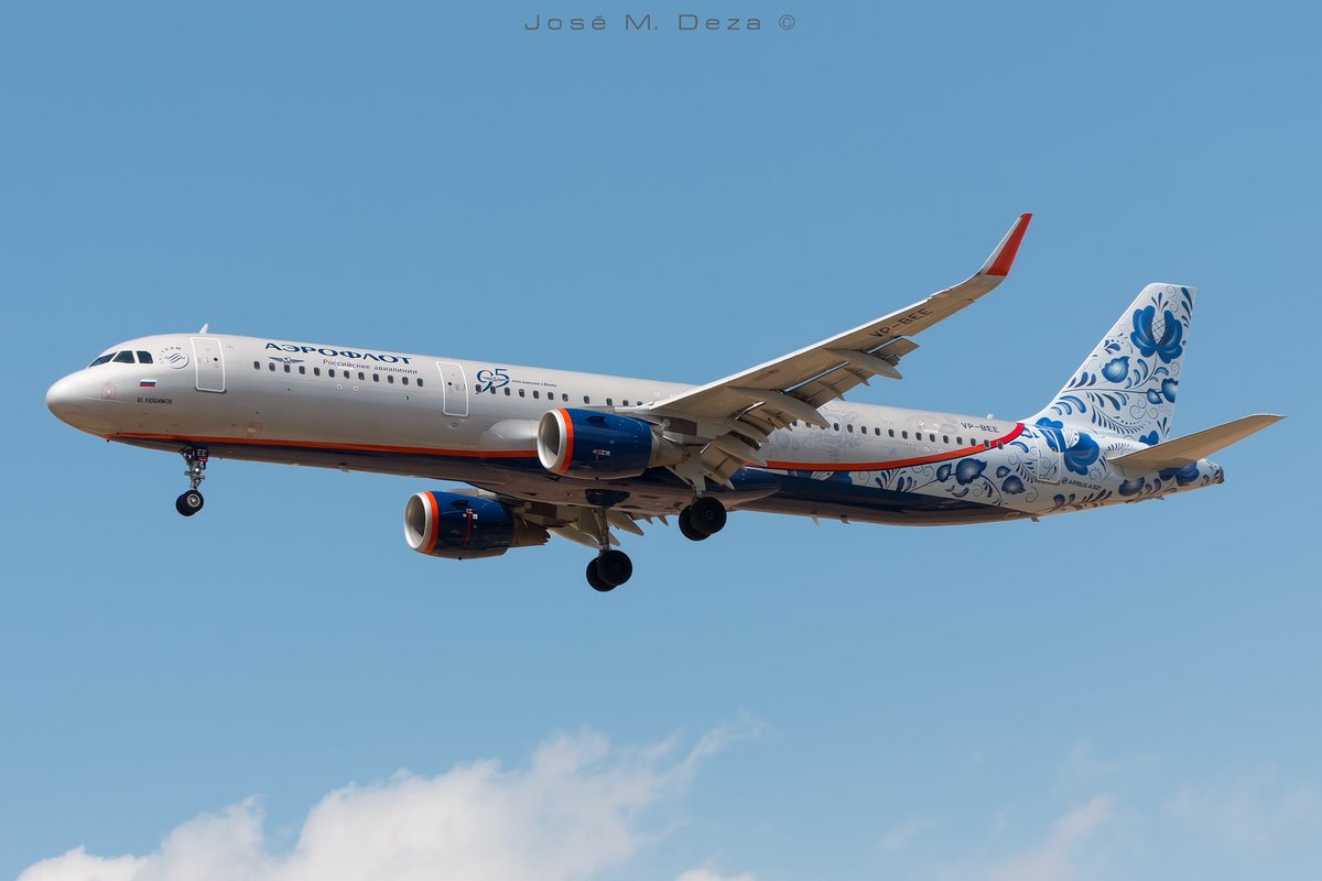 Aeroflot A321-211 VP-BEE Y. Lyuvimov &quot;95 years flying with you&quot; livery arriving and departure from BCN @aeroflot @spottersbcnprat<br>http://pic.twitter.com/WDL4wpJjAh