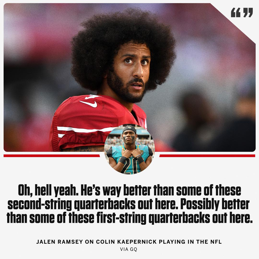 Colin Kaepernick could be a starting NFL quarterback, according to Jalen Ramsey. https://t.co/Zl1JMLW4iT