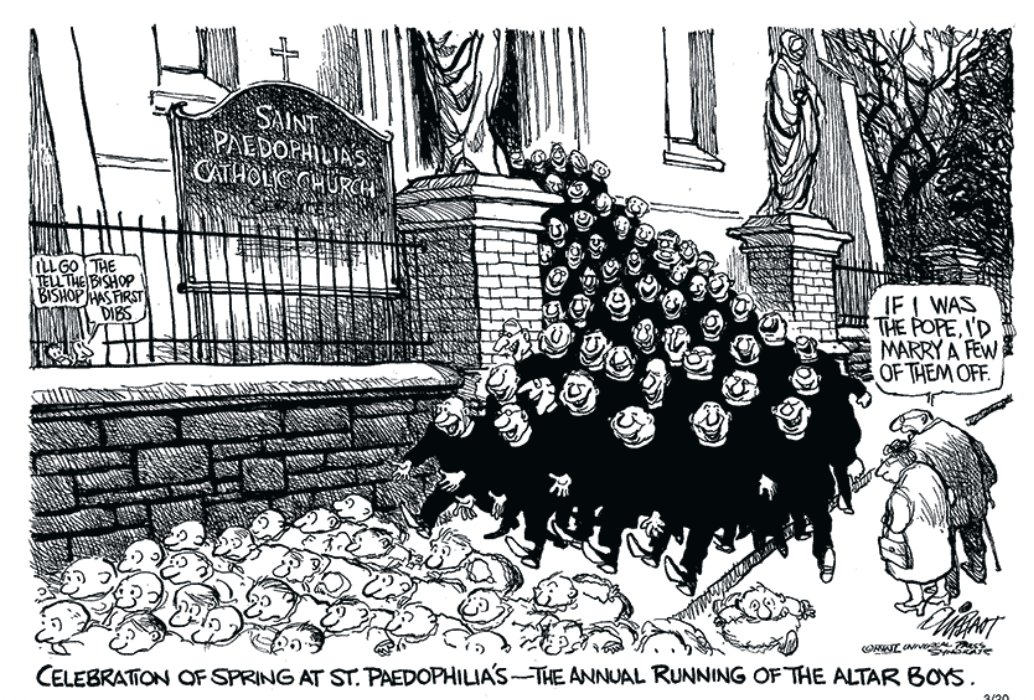 I can never read about the hideous child abuse scandals of the Catholic Church without thinking of this very wicked cartoon published years ago by my friend Pat Oliphant. @BLNadeau