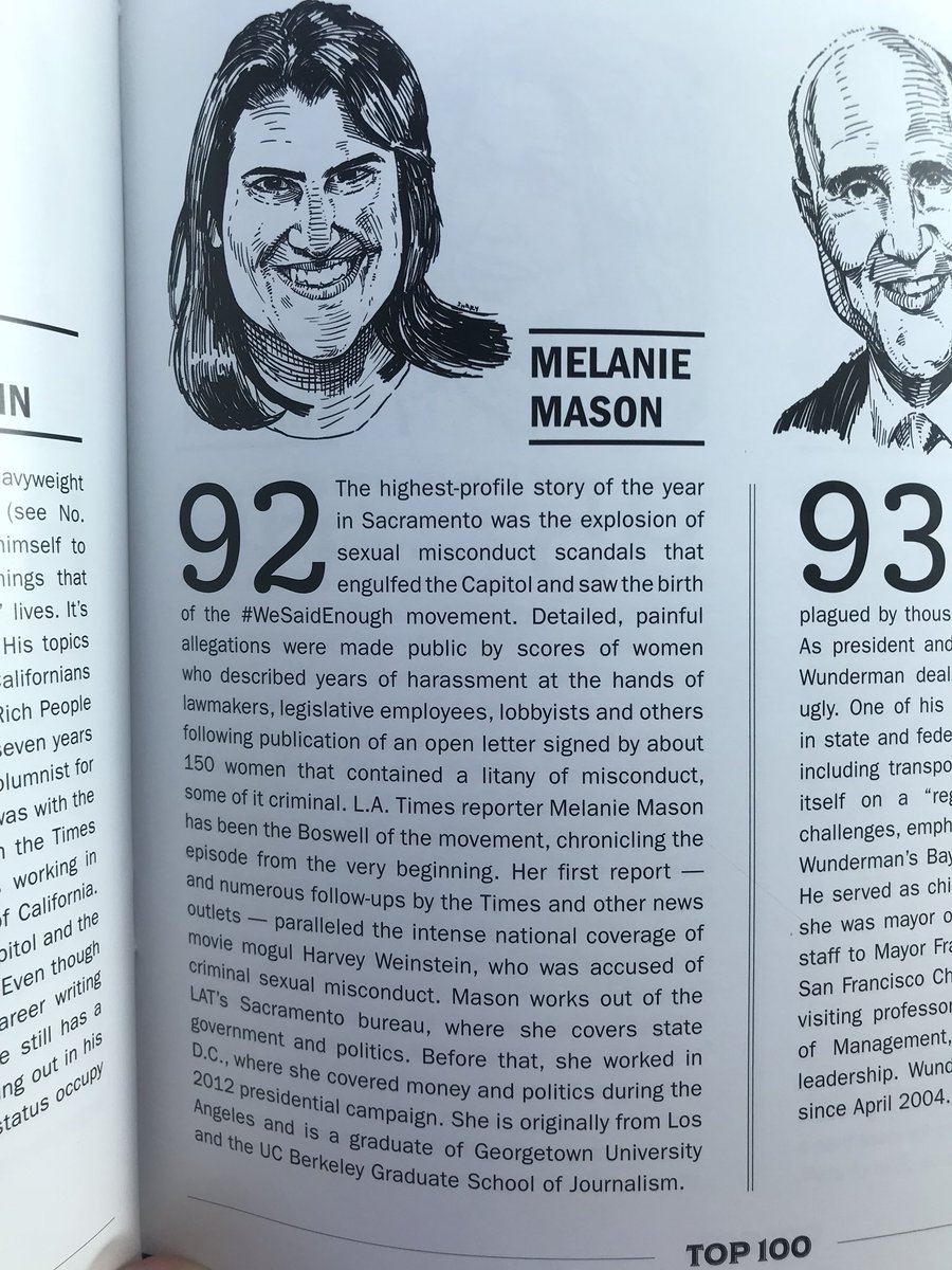 Congratulations to @melmason for being included on @Capitol_Weekly's Top 100 list. Few reporters have had such a dramatic and important impact on Sacramento.