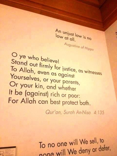 Harvard University has a verse of the Qur&#39;an posted on a wall at the entrance of its faculty of law. ( O you who believe! Stand firmly for justice, as witnesses to Allah, even if against yourselves, or your parents, or your relatives... ) The Quran 4:135 #WednesdayWisdom <br>http://pic.twitter.com/v6eWRoyAkU