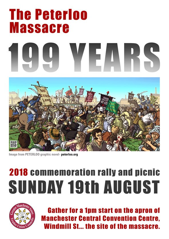 Really hope to see lots of you at the Peterloo 2018 commemoration events. Tomorrow 1pm sharp, St Peter&#39;s Square, then Sunday at Windmill St, 1pm.<br>http://pic.twitter.com/Lq5V38PFC2