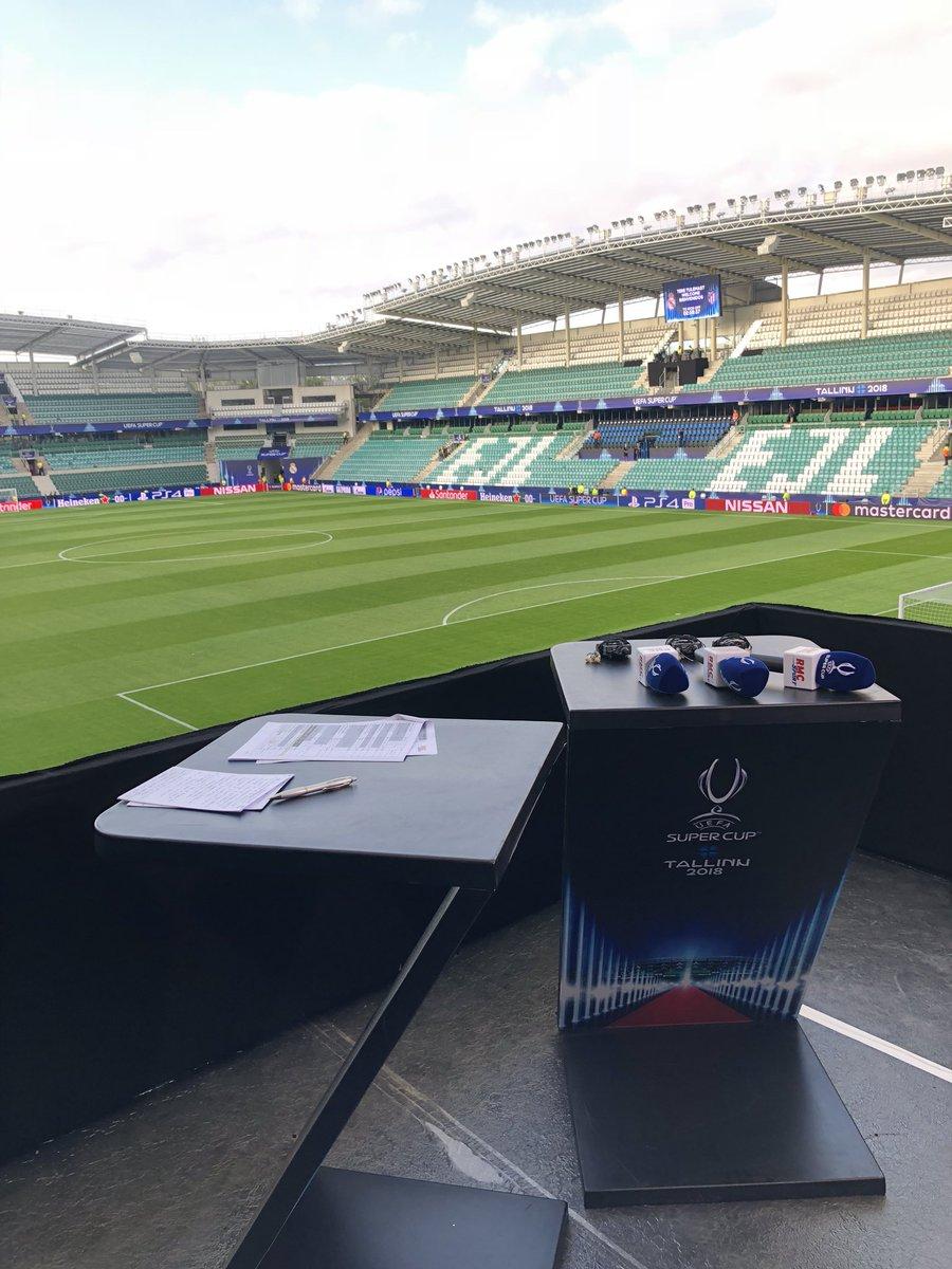 Très gros dispositif @RMCsport à Tallinn pour cette Supercoupe d'Europe entre le Real Madrid et l'Atletico de Madrid ! Les champions du monde français 🇫🇷sur la pelouse ! Rendez vous des 20h pour vivre cet événement ! 🤭😗