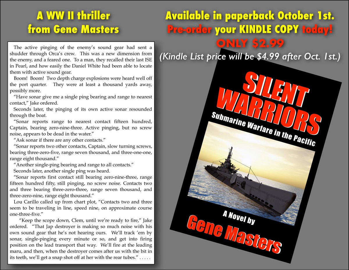 Are you a fan of #WWII war stories?  Here's a terrific novel of #submarine warfare in the Pacific. Silent Warriors is now available for Kindle pre-orders at only $2.99. Release date is Oct. 1, when the price will go to $4.99. Order today.  https:// tinyurl.com/ybu4wut3  &nbsp;  <br>http://pic.twitter.com/5LVh8JdWHQ