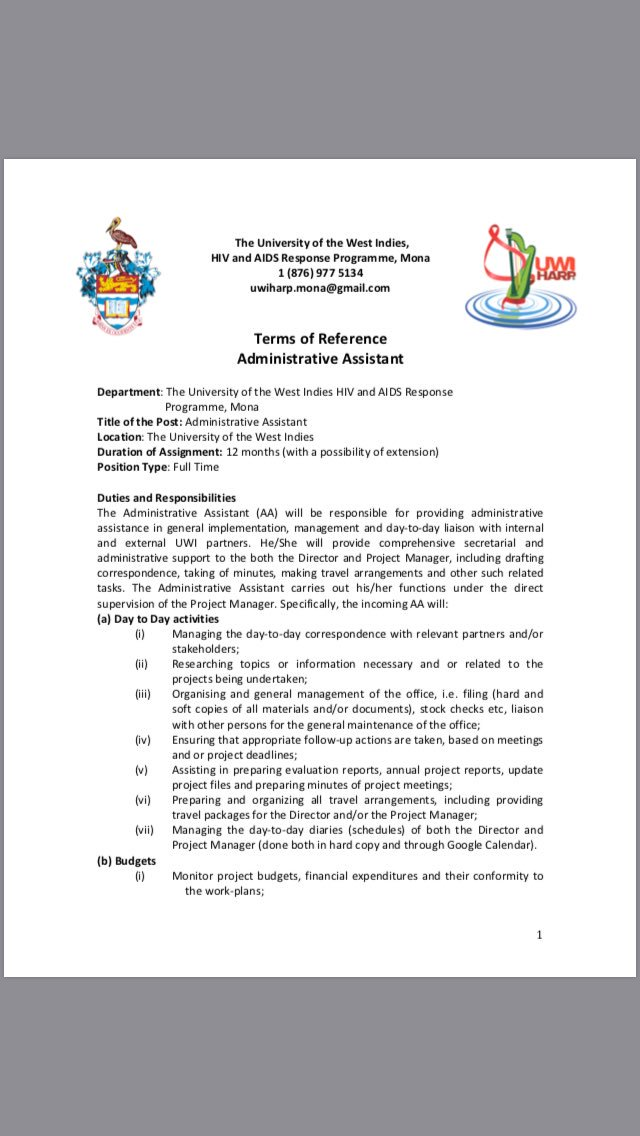 Job opp: UWI HARP is looking for an Admin Assistant. If you, or someone you know, are interested, see the call attached &amp; share! @cvccoalition @youth_advocate @JNSero @UWIMonaGuild @UWImona @UWIalumnionline @Petchary @suezeecue @JASLtweets <br>http://pic.twitter.com/TTXPjluGOS