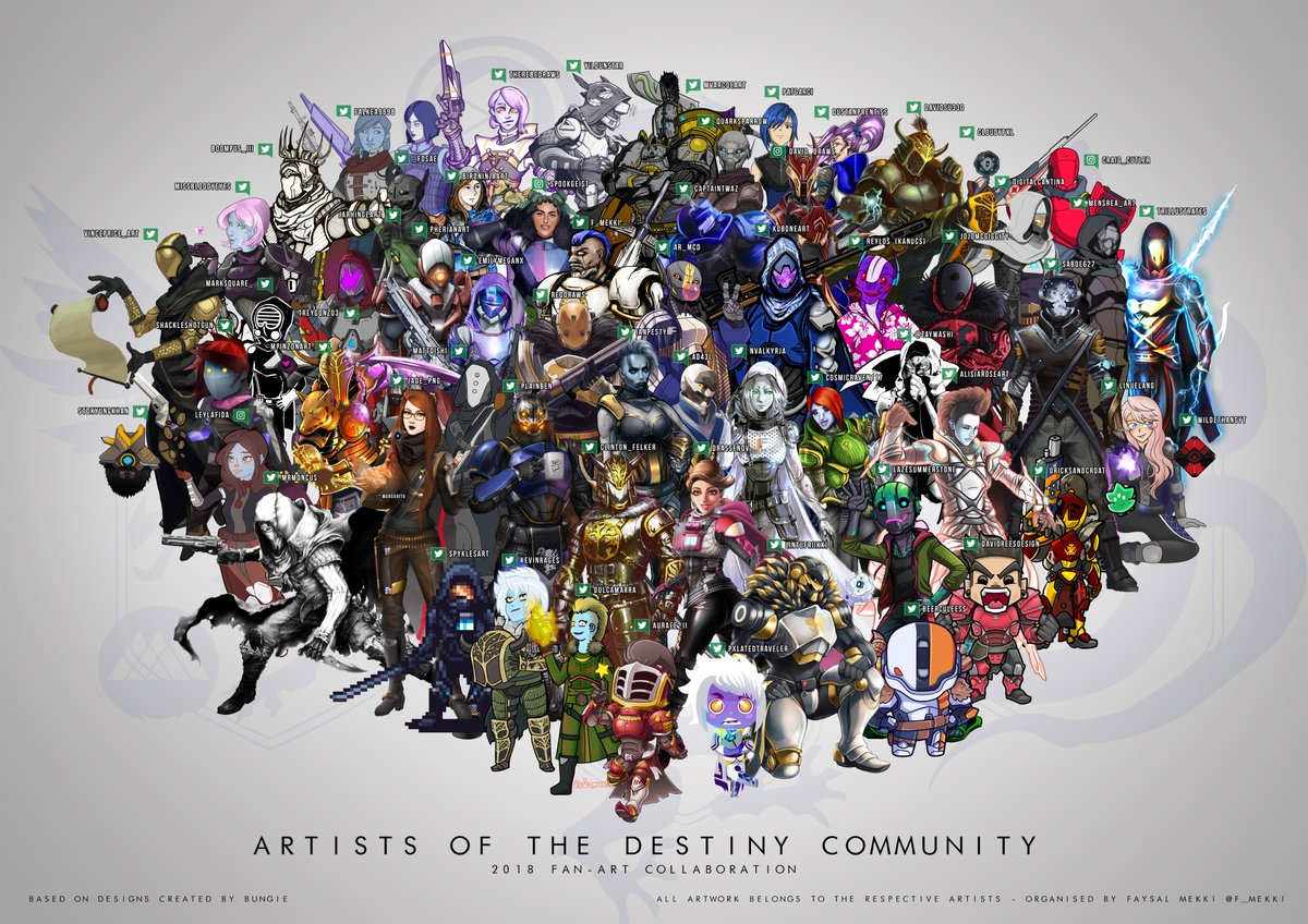 Its been months in the making, the 2018 #Destiny2 community fan art mega collaboration! Over 60 unique guardian self-portraits drawn by your Destiny favourite artists! @Bungie @DeeJ_BNG @Cozmo23 @A_dmg04 @cgbarrett @gtricky77 4k Wallpaper: imgur.com/gallery/tv7bIJ7