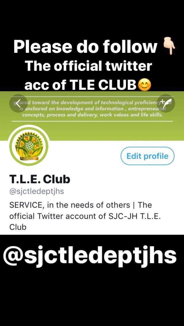 To all my fellow Josephians, We The TLE club encourage you to follow our newly launched Twitter Account, @sjctledeptjhs so that you can be updated at all times about our upcoming activities and the recently conducted Nutrition Month. <br>http://pic.twitter.com/8TLiFSeZ0U