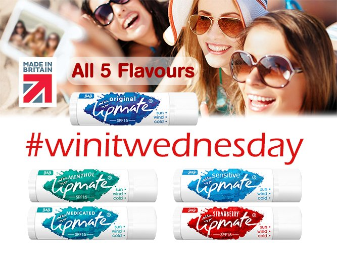 Who loves #LipBalms ? Enter our #WinItWednesday competition to be in with a chance to win our 5 Flavour Lipmate lip balm pack. Simply FOLLOW and RT to enter. 2 winners chosen. 💋 Delivery to UK. Closes 31.08.18 #Free #Health #LipCare #Beauty #Holidays #Competition