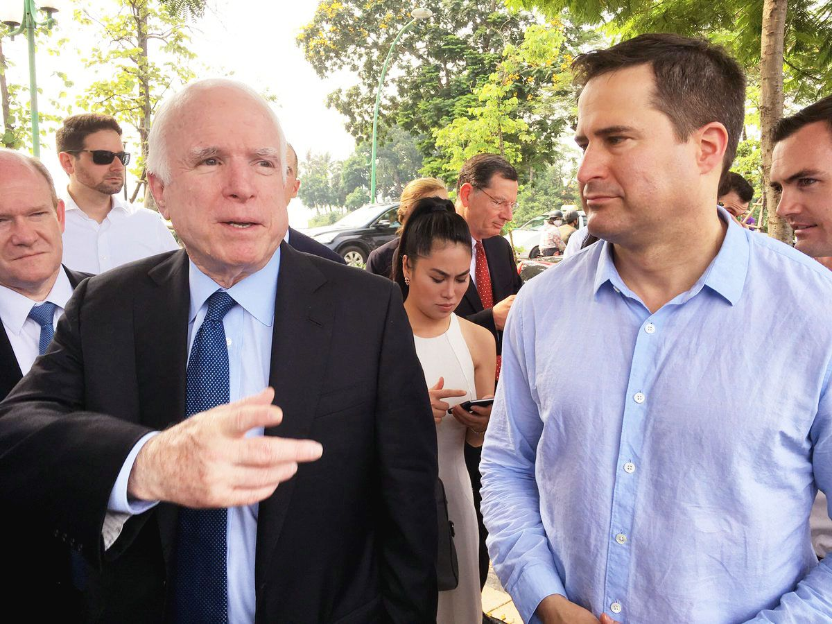 """After being tortured in the """"Hanoi Hotel"""" for months and dropping to 100 pounds, John McCain turned down an opportunity to go home because he refused to break the POW Code. He is an American hero who deserves our gratitude and respect. <br>http://pic.twitter.com/2AZq72NTpI"""