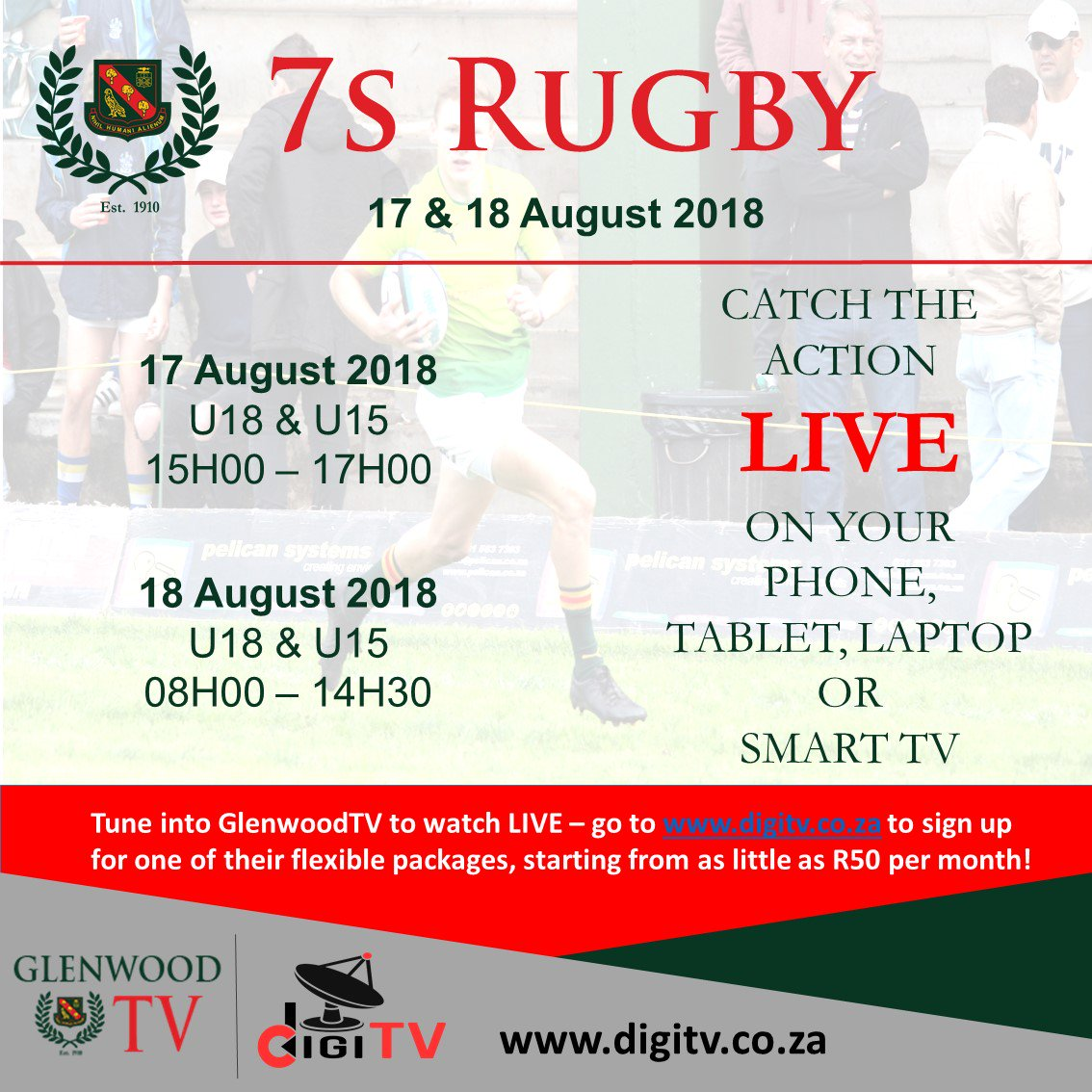 @glenwoodhigh Rugby 7s Tournament takes place 17 &amp; 18 August. Catch all the action on Dixon&#39;s field live on  http://www. digitv.co.za  &nbsp;     https:// issuu.com/hannelieerasmu s/docs/7s_festival_2018 &nbsp; … <br>http://pic.twitter.com/lgsoUgXLdK