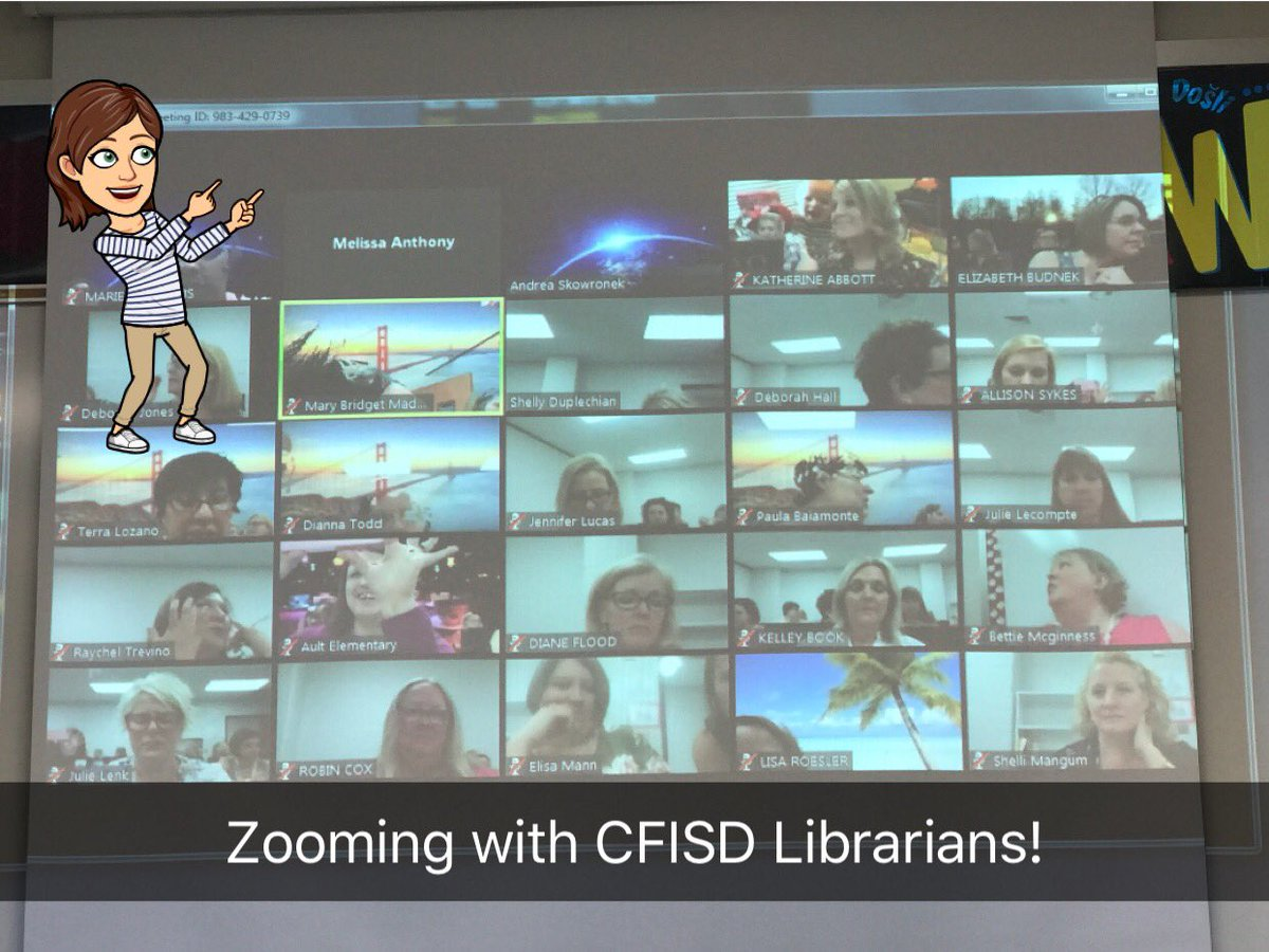Look at all these awesome CFISD librarians ZOOMing today for #cfisdpd! Getting a serious Brady Bunch vibe  from our tribe! #cfisdlib<br>http://pic.twitter.com/G4NFDmGG2J