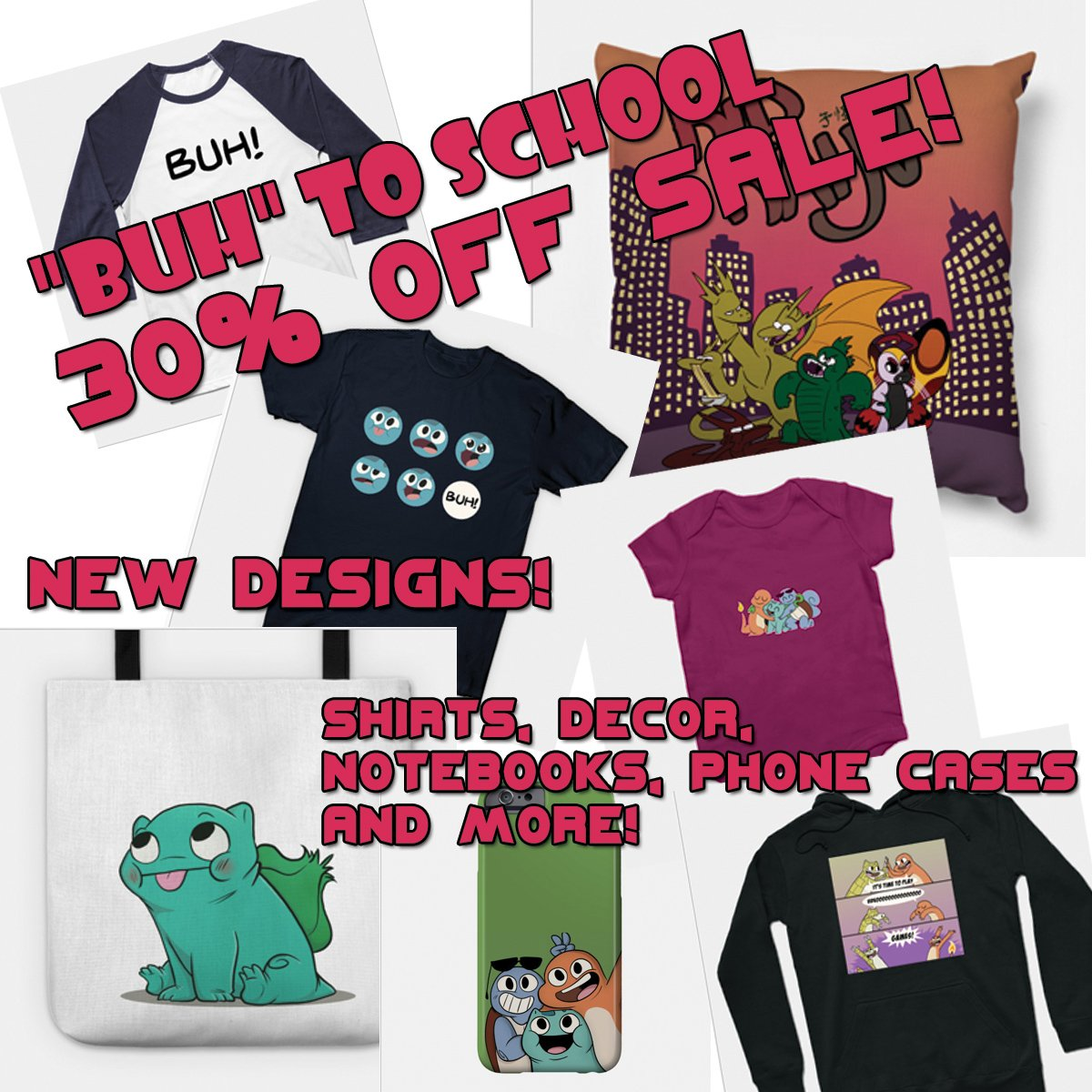 It&#39;s the &#39;BUH&#39; To School sale! Everything on my Teepublic account is up to 30% off! With FIVE new designs!  Get shirts, pillows, phone cases, coffee mugs, laptop protectors, notebooks and more with Li&#39;l Char and the Gang and be THE COOLEST  &gt;   http:// Teepublic.com/user/nekoama  &nbsp;    &lt;<br>http://pic.twitter.com/8GEm0tB42t