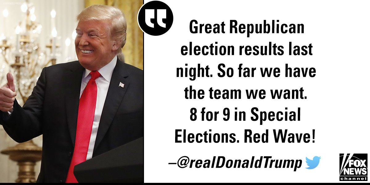 Earlier today, President @realDonaldTrump celebrated last night's election results and invoked a 'Red Wave!' https://t.co/BdaQdriDXT