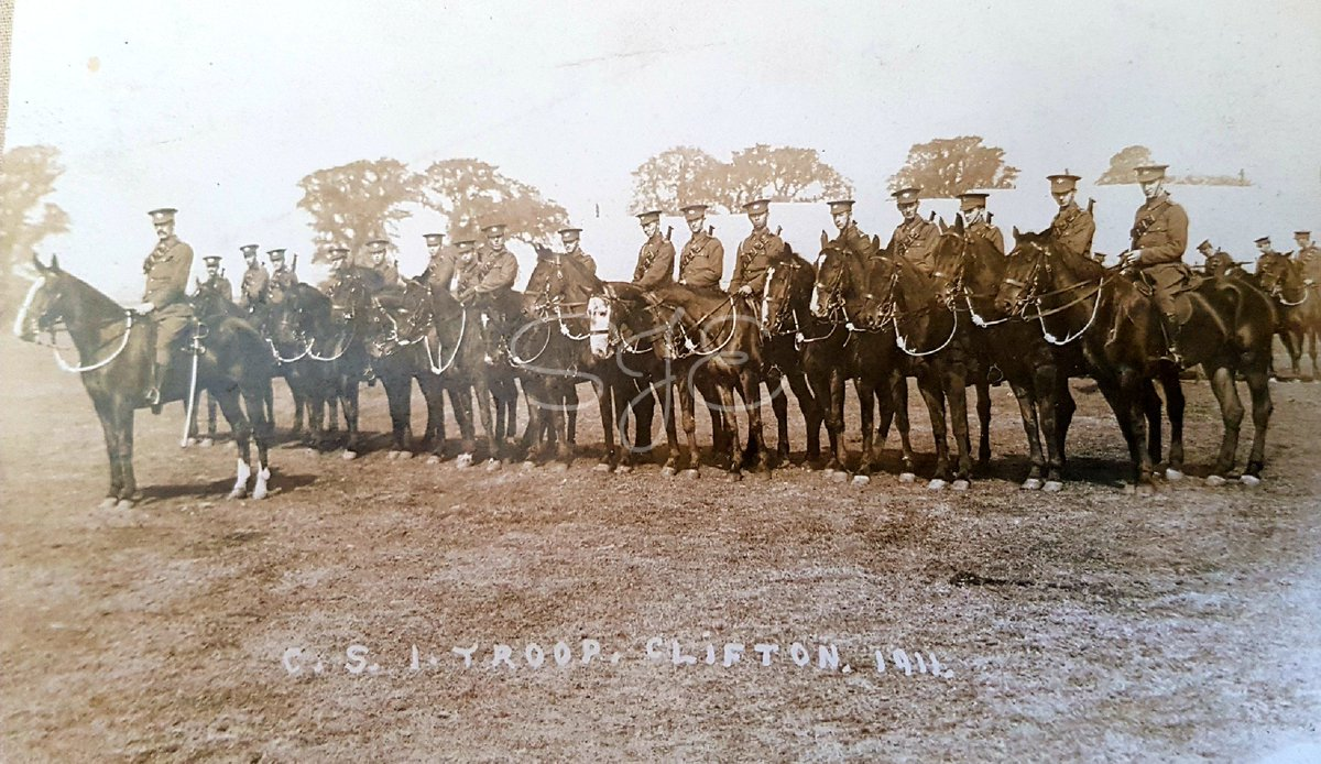 A photo postcard of C Squadron (Nottingham) I Troop. South Nottinghamshire Hussars Yeomanry. Taken at Clifton in 1911. #WW1 #Southnottshussars<br>http://pic.twitter.com/U92zJX9LR6