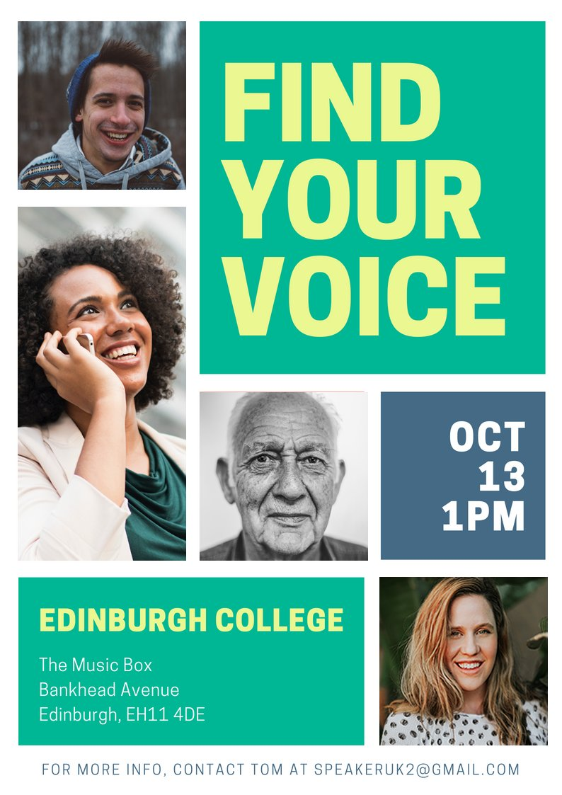 &quot;Find Your Voice&quot;launches on 13th October at Edinburgh College. This project will improve #publicspeaking skills and confidence of local people. This free event will allow participants to actively learn with UK public speaking champions, professional poets and charity leaders. <br>http://pic.twitter.com/4oUfZTNB33
