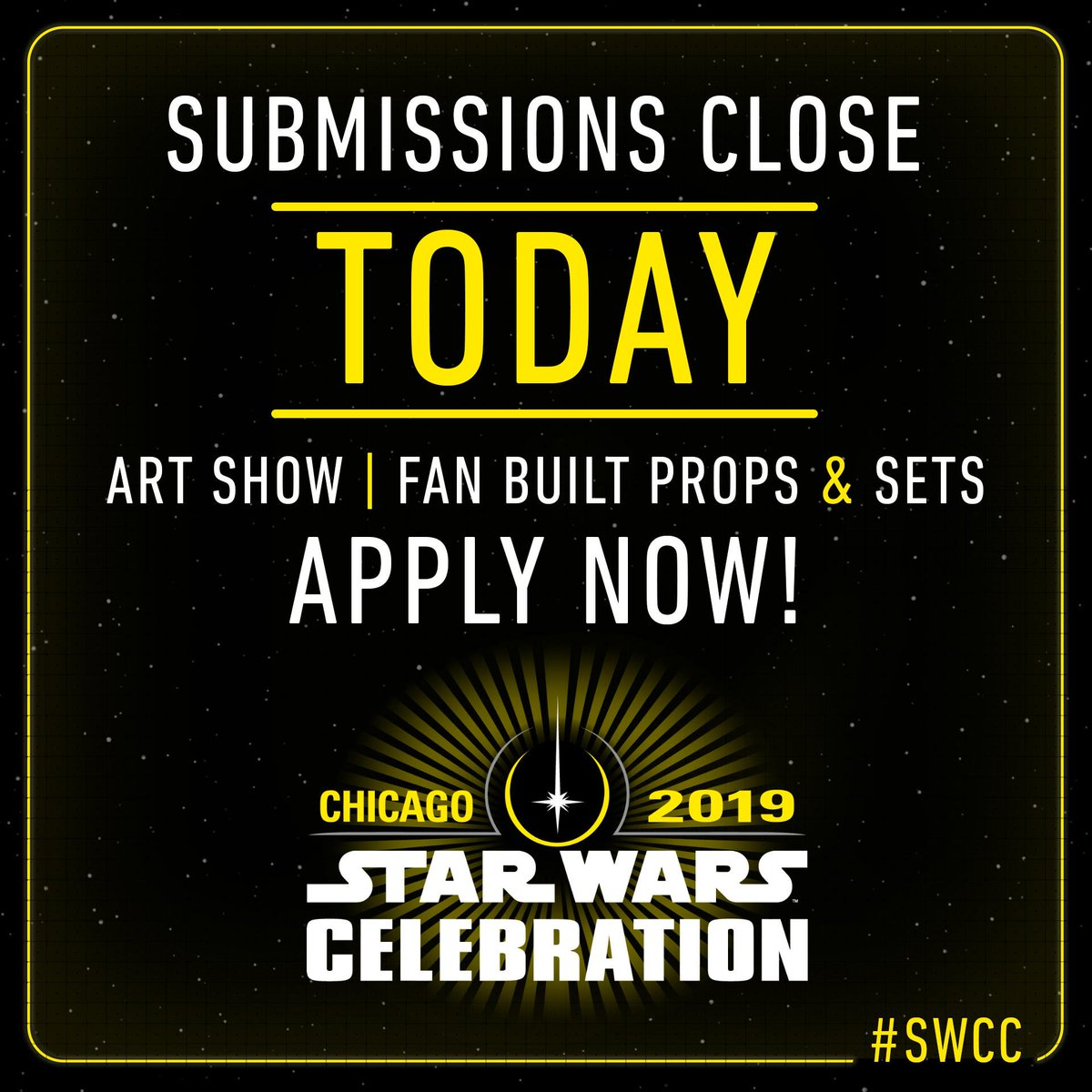 Alert all commands! Today is the final day to submit YOUR fan creations for #StarWarsCelebration. #SWCC  Art Show:  http:// strw.rs/6007DvE7W  &nbsp;    Props and Sets:  http:// strw.rs/6000DvEC6  &nbsp;  <br>http://pic.twitter.com/tmw8rBRFCl