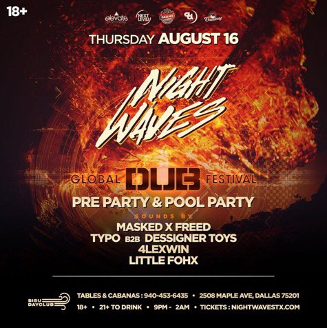 Tomorrow night w/ @MaskedAndFreed   Not to mention that disgusting @feelsomeTYPOway b2b @kristoftoys    are available at  http:// nightwavestx.com  &nbsp;  <br>http://pic.twitter.com/lv0tmMBCFZ
