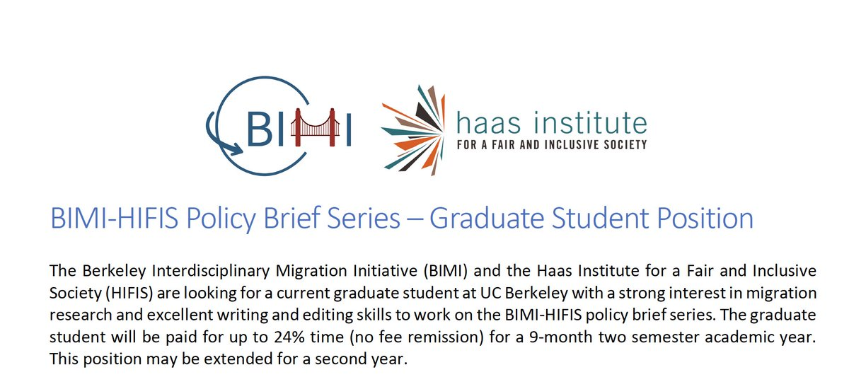 Join the @BIMIatBerkeley team and apply now for a graduate student position as a policy brief writer for a shared policy brief series with the @HaasInstitute. Find more information here:  https:// bimi.berkeley.edu/sites/default/ files/shared/Job%20Description%20Policy%20Brief%20Series.pdf &nbsp; …  and apply before 08/24 here:  https:// goo.gl/forms/mo5VbzxG 0kbKohWp2 &nbsp; … <br>http://pic.twitter.com/QHgsnJejla