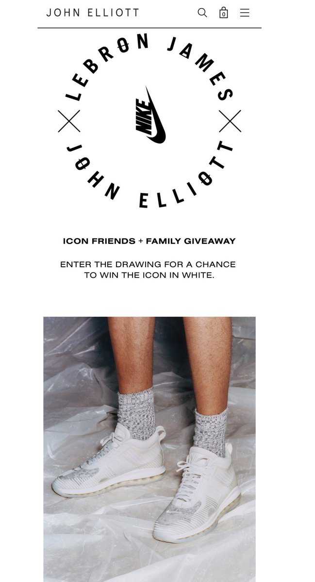 "2d75f4e88cb2 Lebron x John Elliott x Nike Icon White ""Friends   Family"" giveaway ends  today at 12 pm PT   3 pm ET http   bit.ly 2OSkolu   snkr twitrpic.twitter.com  ..."