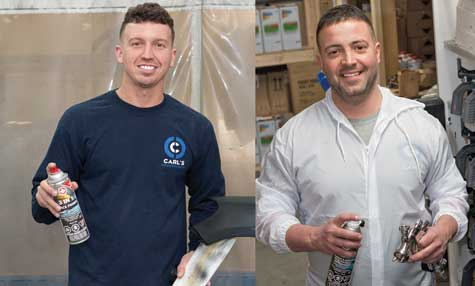 At Carl's Collision in Fall River, MA, Technician Aaron Ferreira (Left)  uses a wide range of Dominion Sure Seal products literally every day. Kevin Daluz loves Dominion Sure Seal's Spray Gun Paint Remover.  http:// ow.ly/9IlK30l9HWZ  &nbsp;   @Dsureseal  @carlscollision<br>http://pic.twitter.com/PQped3MCZ6