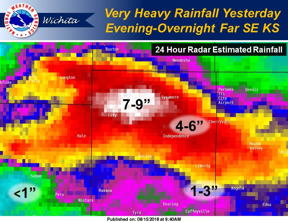 Intense rainfall totals far SE KS yesterday evening-overnight. 7-9' NW of Independence. Widespread flooding, numerous water rescues in and around Independence. Tragically, two known fatalities near Elk City Lake.  #kswx