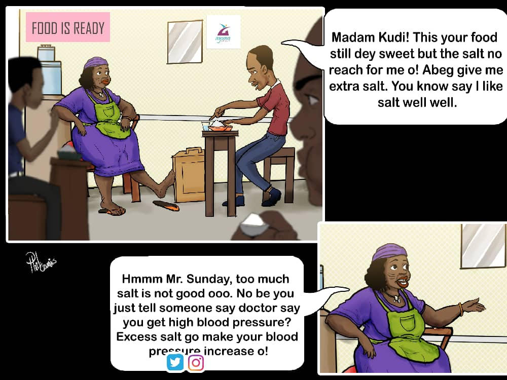 Madam Kudi, a restaurant owner is talking to one of her customers, Sunday about putting too much salt in his food... #comicstrip #issathread #edutainment #healthertainer #NCDs #healthcommunication #HealthyLife #healthforall #HealthTech<br>http://pic.twitter.com/oKhLobKtin