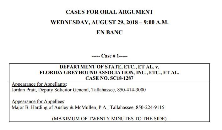 Dog racing amendment challenge set for oral argument at Fla. Supreme Court on Aug. 29 #FlaPol<br>http://pic.twitter.com/jPDditZrqu
