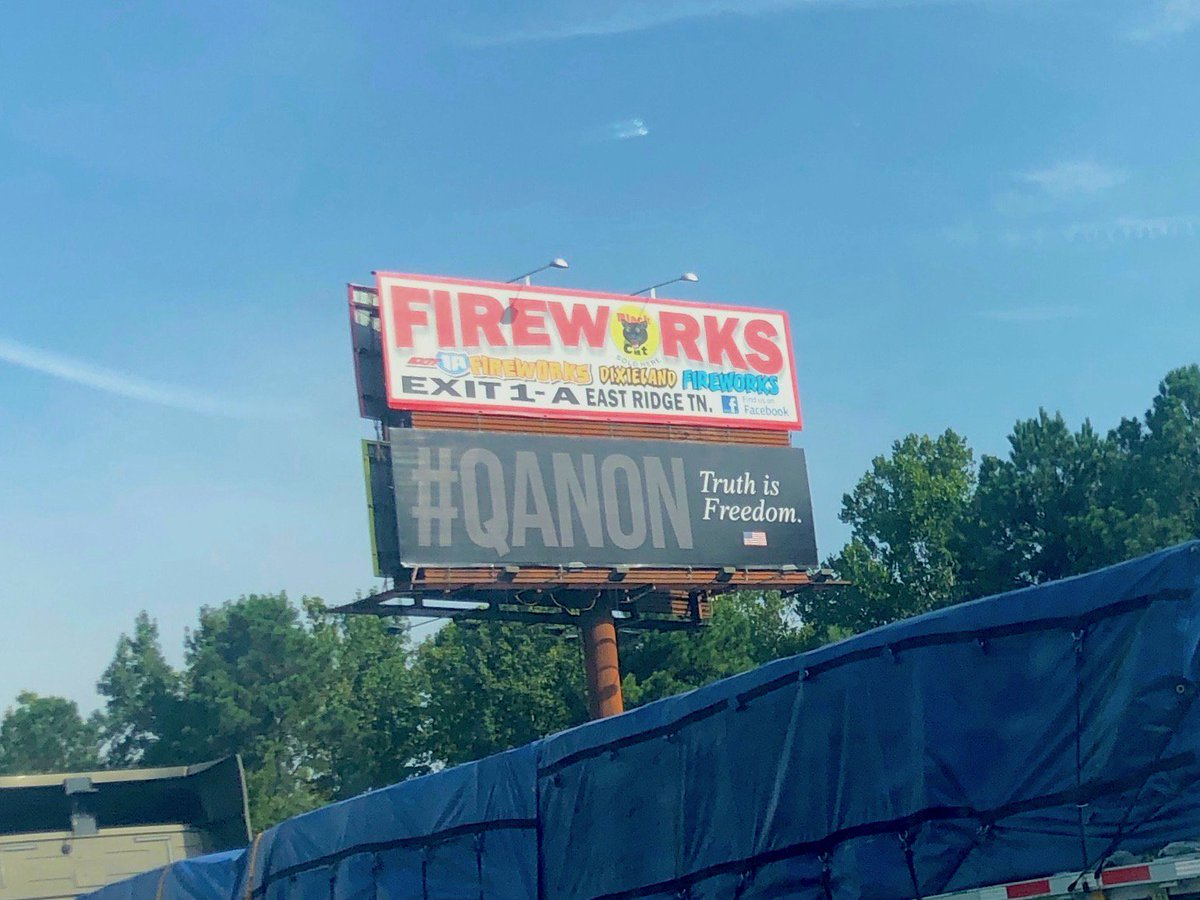 "Ryan Lenz on Twitter: ""More evidence of the #QAnon conspiracy theory reaching into the real world on a billboard along I-75 in Georgia.… """