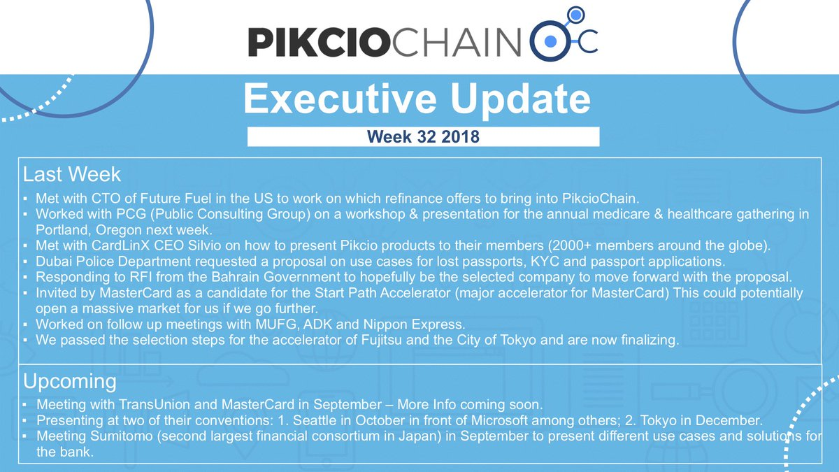It has been another week of nonstop progress for PikcioChain. Check out the highlights below.   For more details watch Didiers weekly update:   https://www. youtube.com/watch?v=S9nIqQ JLhcA &nbsp; …   $PKC $NEO #Blockchain #GDPR #PersonalData <br>http://pic.twitter.com/8AgOi3xSeD