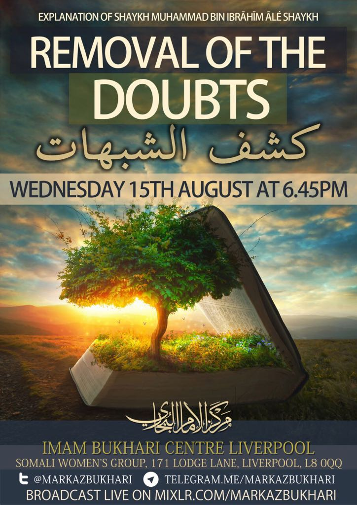 Tonight at 6:45  Removal of the Doubts  Lesson 9  • &quot;We say Laa illaha illa Allah and bear witness that Muhammad is his messenger, we believe in the Quran, we pray and fast so how can you compare us to those mushrikeen?&quot;   @AbuMuadhTaqweem    http:// markazbukhari.com/live/  &nbsp;  <br>http://pic.twitter.com/38y2IOcbnQ