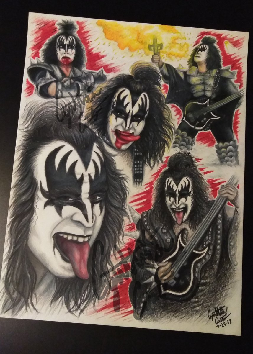 The Demon Colored pencil drawing of @genesimmons ! From @KISSOnline ! It won a first place ribbon at our county fair art show. <br>http://pic.twitter.com/0WBIAz9p8f