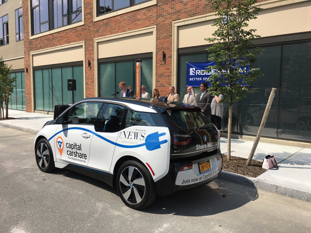 Capital Carshare with its first electric vehicle at The News apartments in Troy Wednesday. <br>http://pic.twitter.com/vm6btSC8EU