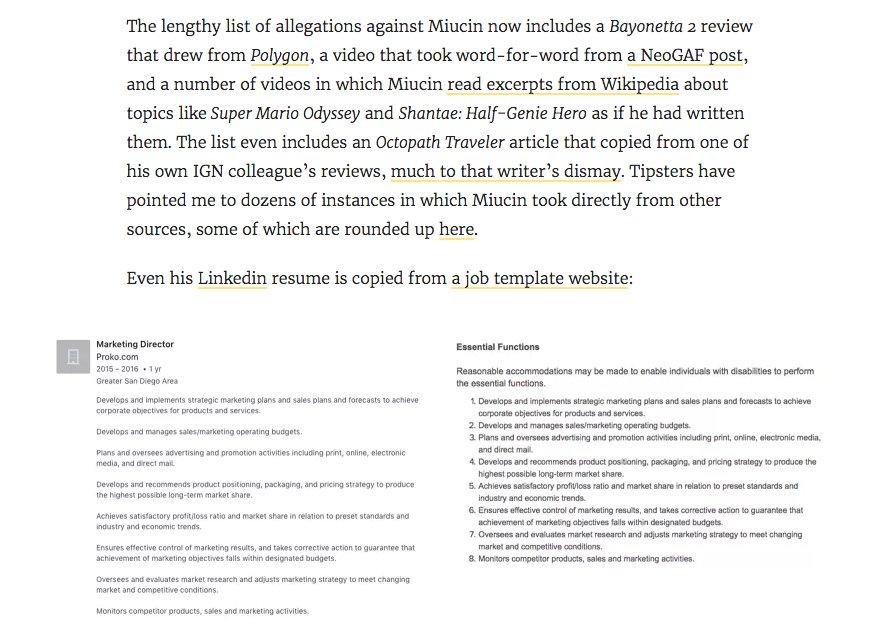 Jason Schreier On Twitter Filip Miucin Apparently Plagiarized Not