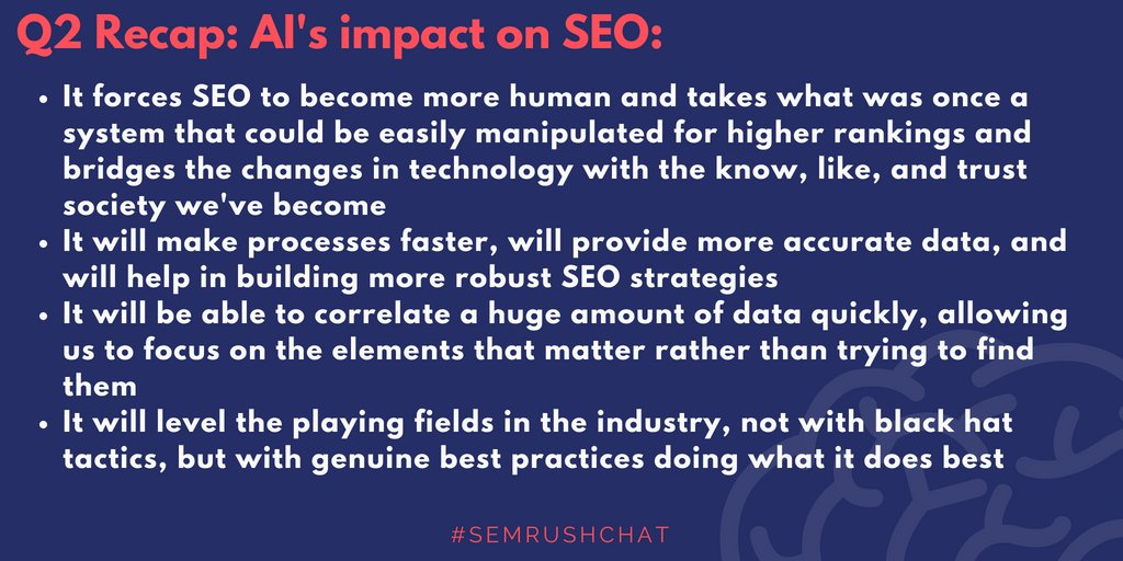 Q2 Recap: In the near/short term future, the impact will be minimal, but will be touted as a cure-all, however, Artificial Intelligence and/or Machine Learning will only be as good as the data its fed. #semrushchat <br>http://pic.twitter.com/jsM1ZHHLto