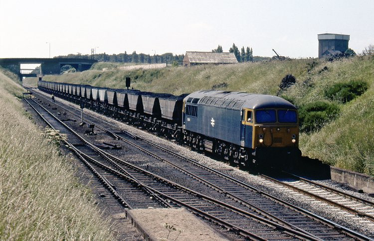 56024 travels east at Retford towards the Trent power stations with MGR hoppers from the Nottinghamshire coalfields, 6th July 1977.   Photo by John Woolley <br>http://pic.twitter.com/V6l505Z9kI