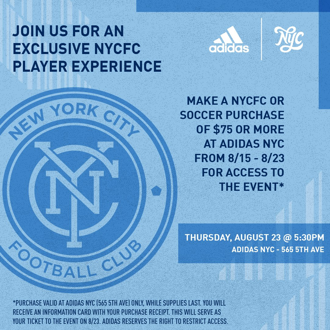 huge selection of 1ce8c 9a038 Get your NYCFC product at adidas NYC 5th Ave. starting today to join the  Boys in Blue in a unique player experience on August 23rd.pic.twitter.com  ...
